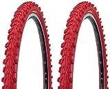 KENDA 2 x MTB Reifen farbige Fahrradreifen 26 Zoll 50-559 26 x 1.95 (ROT)