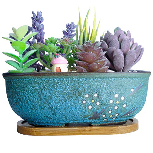 Artketty Ceramic Succulent Planter Pots,7.9 Inch Modern Rectangular Bonsai Pot with Drainage Hole Small Glazed Flower Cactus Planter Container, Home Garden Window Box with Bamboo Tray