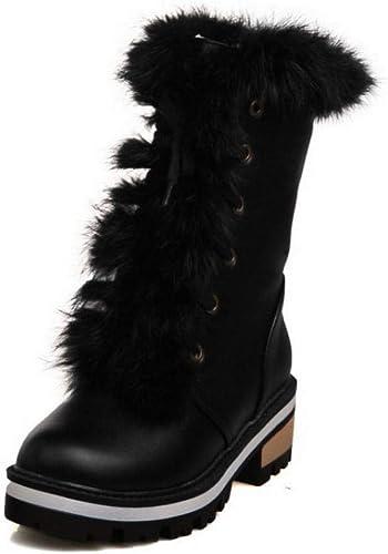 ZHRUI Stiefel para damen - Stiefel para la Nieve cálidas y Antideslizantes de Invierno Dulce Stiefel Cortas de Viento universitarias Stiefel Medias 34-43 (Farbe   schwarz, tamaño   39)