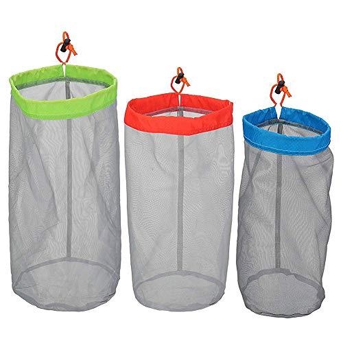 Borogo Stuff Sack Set aus 3 leichten Nylon-Netzgewebe mit Kordelzug Aufbewahrungstasche für Reisen, Wandern
