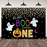7×5ft Halloween Boys 1st Birthday Party Backdrop Cartoon Pumpkin Ghost Bat Colorful Dots First Birthday Photography Background Our Little Boo is Turning One Theme Birthday Party Banner Decorations
