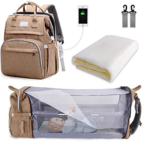 SNDMOR-Mochila para pañales de bebé de gran capacidad, para cuna de viaje, plegable, organizador de mochila para pañales de cuna multifuncional con cambiador de pañales