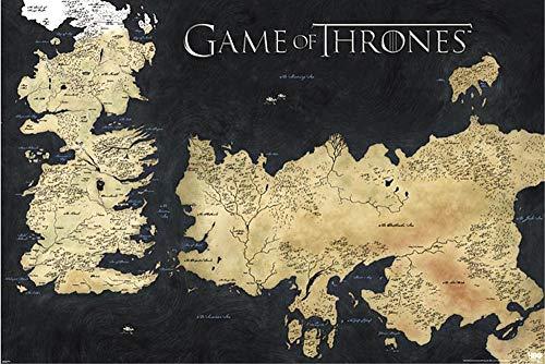 Poster Game Of Thrones les 7 Royaumes (91,5cm x 61cm) + un poster surprise en cadeau!
