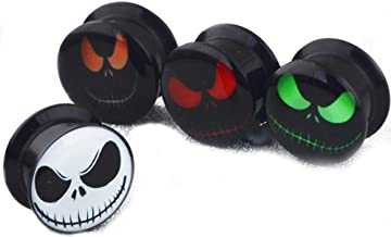 4 Pairs Skull Acrylic Ear Gauges Earring Plugs Logo Internally Threaded Screw fit Flesh Tunnels