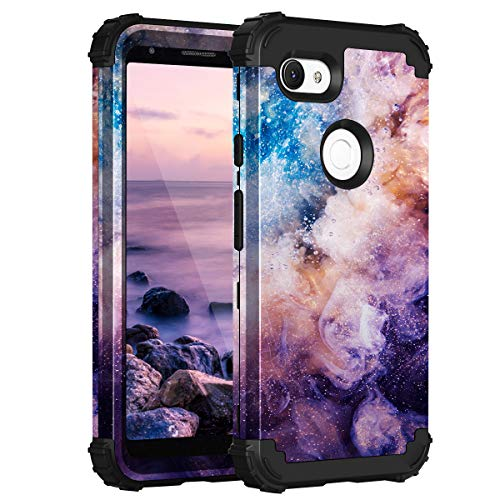 Fingic Google Pixel 3a Case, Pixel 3a Case, Floral 3 in 1 Heavy Duty Protection Hybrid Hard PC Soft Silicone Rugged Bumper Anti Slip Shockproof Protective Case for Google Pixel 3A 5.6  2019, Nebula