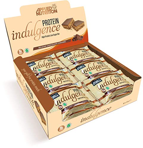 Applied Nutrition Protein Indulgence Box with 12 Units x 50g Protein Bar | High Protein Low Sugar Bars, Breakfast Snack Eat Anytime, 15g of Protein per Bar (Belgian Chocolate Caramel)