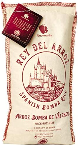 Gourmanity 2 2 lb Spanish Bomba Rice for Paella Rey del Arroz Authentic Spanish Bomba Rice from product image