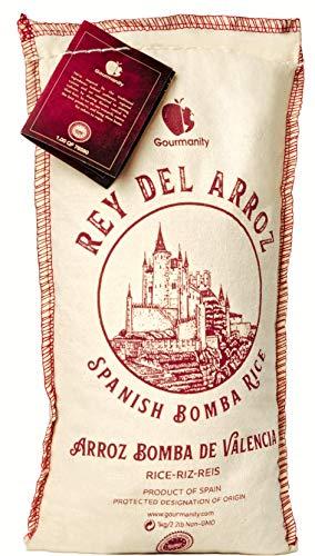Gourmanity 2.2 lb Spanish BombaRicefor Paella, Rey del Arroz Authentic Spanish BombaRicefrom Spain
