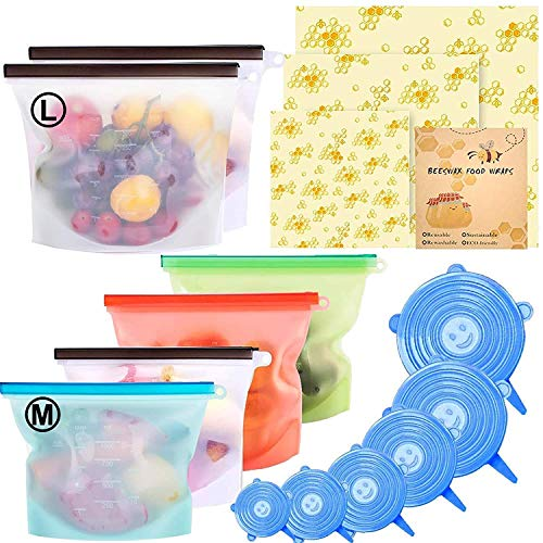 15 Pack Beeswax Wrap & Silicone Food Storage Bag & Silicone Stretch Lids, Eco-Friendly Reusable Food...