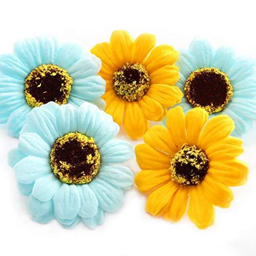 2色、色指定OK!ソープフラワー【ひまわり】花材 ハンドメイド 手作り 贈り物 シャボンフラワー 向日葵花材 650 (水色, 10個)