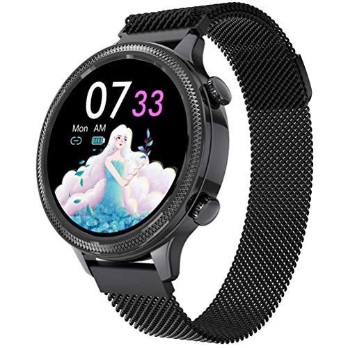Smartwatch M3, Reloj Inteligente Deportivo para Mujer con Función De Monitoreo De ECG PPG HRV para Todo Clima para Mejorar El Temperamento,Negro