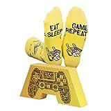 CREA SOCKS Lustige Gaming-Socken, Neuheit, Funky, Skurril, Bunte Gamer-Socken für Geschenke, Baumwolle, Eat Sleep Game Repeat, Ich bin Gaming-Socken Unisex