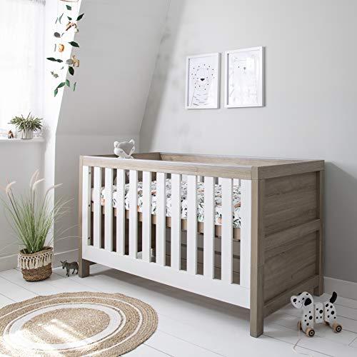 Tutti Bambini Modena Nursery Cot Bed - Converts into a Junior and Sofa Bed (White & Oak)
