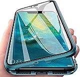 Cover per iPhone 12 Pro/iPhone 12 Magnetica Adsorbimento Tech Custodia Anteriore e Posteriore Trasparente Vetro Temperato Case Metallo Alluminio 360 Gradi Full Body Protezione Case - Pacific Blue