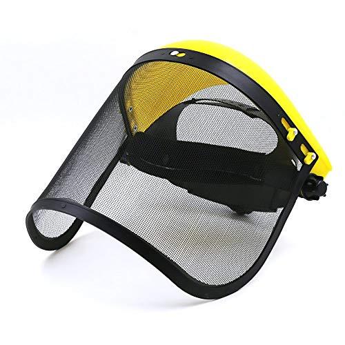 Bocotoer Schutzmaske für das gesamte Gesicht, groß, Stahl-Metallgeflecht, Visier, Schutzhelm für Kettensäge, Gelb