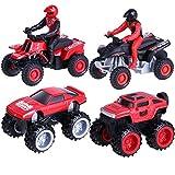 Toymus 4 Pack Aufziehautos Spielzeugautos Set, Legierungsspielzeug Auto, Motorrad, Auto Spielzeug, Reibung angetrieben Spielzeug Fahrzeuge für 3-12 Jahre Jungen Kinder Geschenk