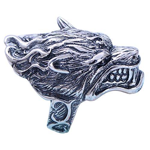 FORFOX Anillo de Cabeza Lobo de Plata de Ley 925 Negro Grande para Hombres tamaño 21