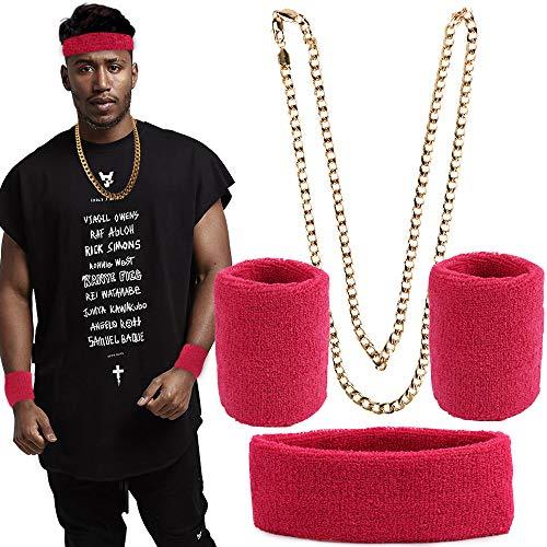 FLOFIA Neon Schweißbänder Set, Rapper Kette Gold Gangster Kette Goldkette Hiphop Gangster Schmuck Panzerkette 80er 90er Jahre Fasching Karneval Kostüm Party Accessoire Zubehör für Damen und Herren