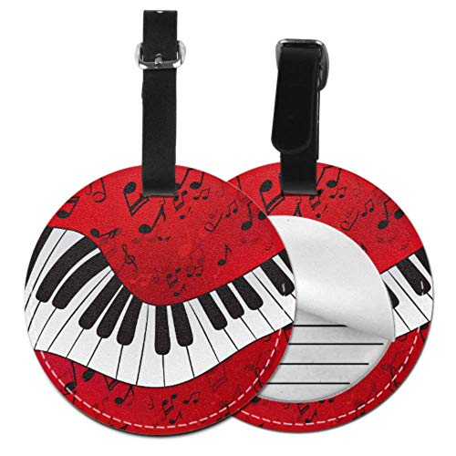 LuggageTagPersonalized Abstract Piano Scores On DIYLuggageTags BagTravelTag with Adjustable Black Strap for Bags & Baggage with Privacy Protection for Women Men