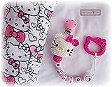 OFERTA!!!PACK Hello KITTY CHUPETERO Crochet Personalizado + MUSELINA+'REGALO'...