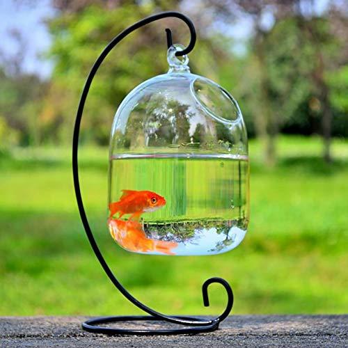 Etophigh Tisch-Aquarium-hängendes Ball-Terrarium mit verbogenem stabilem Stand-Glas-Minifisch-Behälter-Blumen-Vase Pflanzen-Flaschen-Garten