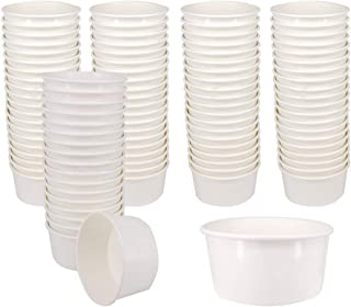 Belinlen 100 Count 6 OZ Disposable White Ice Cream Cups Medium Hot and Cold To Go Cups Paper Cup Takeout Food Container