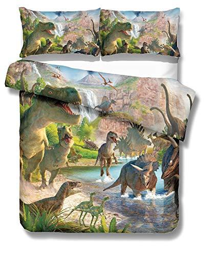 Odot Ropa de Cama 3 Piezas, 100% Microfibra 3D Dibujos Animados Dinosaurio Serie Imprimiendo Juego de Cama Funda Edredón Suave y Funda de Almohada (Cama 150/160-220x240cm,Grupo de Dinosaurios)