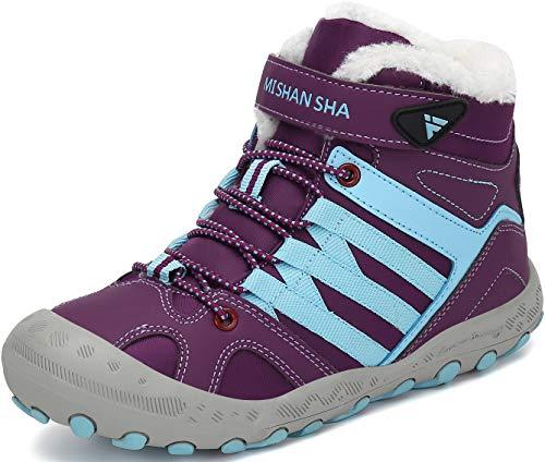 Mishansha Kinder Winterschuhe Trekking Wanderschuhe rutschfest Jungen Camping Schneestiefel Mädchen Warm Baumwollschuhe Wanderstiefel Violett Gr.33