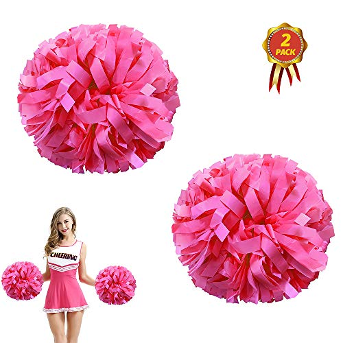 AUHOTA 2 Stück Kunststoff Cheerleading Pom Poms mit Taktstock Griff, Cheerleader Pompons Handblumen (Rosa)