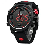 OHSEN Men Silicone Sports Quartz Watch Big Dial Double Movement 5ATM Water Resistant