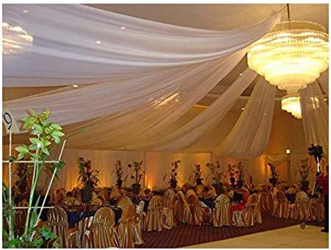 Sheer Voile Chiffon Fabric Draping Panels 10 Yards 120 Wide White Voile Fabric Use for Backdrop product image