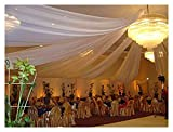 Sheer Voile Chiffon Fabric Draping Panels | White Voile Fabric - 120' Wide x 120 Yards Roll | Use for Backdrop Curtain 10 Feet Wide -Wedding and Special Events.
