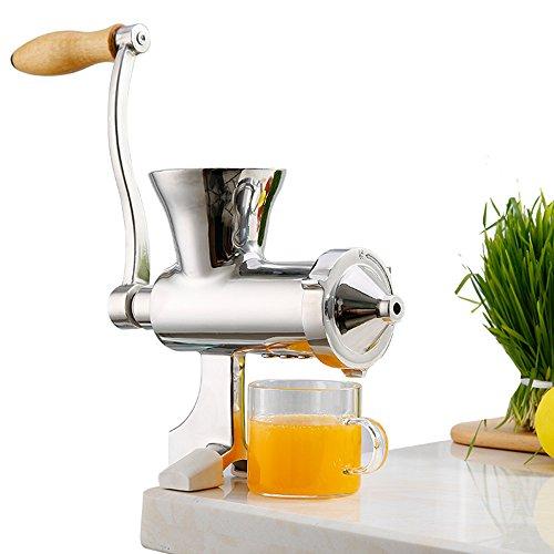Huanyu Manueller Entsafter Edelstahl Saftpresse Weizengras Zitruspresse Slow Juicer für Obst, Gemüse, Ingwer, Granatapfel, etc.