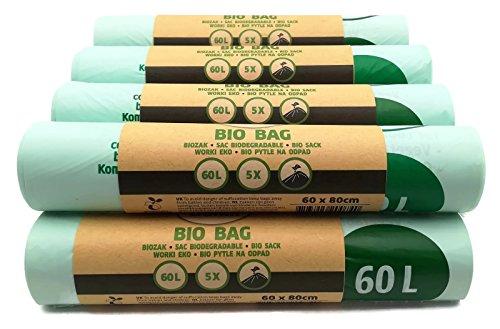Dumil Biologisch abbaubare & kompostierbare Müllbeutel 60 Liter 50 Stück Biomüllbeutel kompostierbar 60 x 80 cm