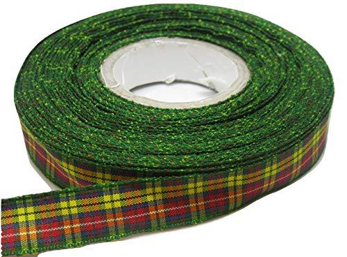 1.5 mm x 2 m Rouge et Vert Tartan Ruban