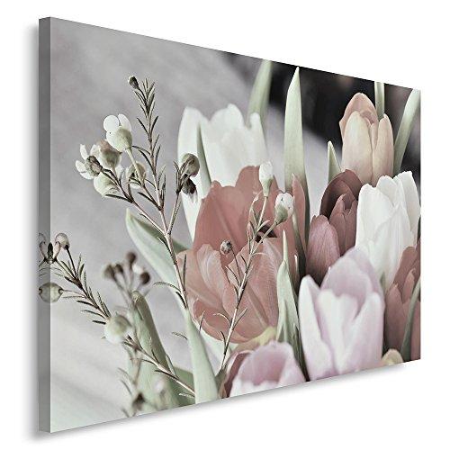 Feeby. Cuadro en lienzo - 1 Parte - 80x120 cm, Imagen impresión Pintura decoración Cuadros de una pieza, TULIPANES, NATURALEZA, BLANCO