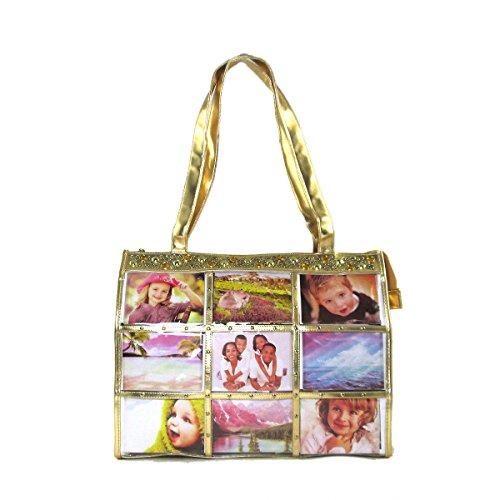 Fashion Metallic Photo Tote Bag with Studs