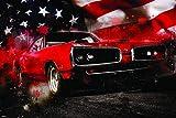 Classic American Muscle Car Retro Vintage Automobile US Flag Patriotic Modern Art Painting Home Decor Print Poster 24x36