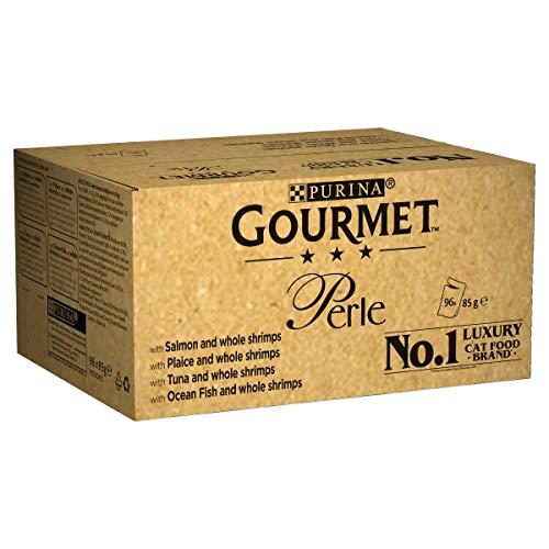 Purina Gourmet Perle Cibo Umido per Gatto, Filettini in Salsa, Salmone o Platessa o Tonno o Pesce dell'Oceano + Gamberetti - 96 x 85g