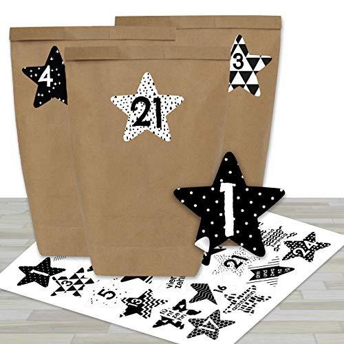 Adventskalender om te vullen, met 24 bruine papieren zakken en 24 zwart-witte stickers, om zelf te maken en te knutselen, mini-set nr. 40, Kerstmis 2019 voor kinderen