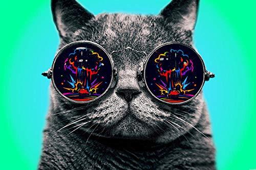 SJJUAN Gatos con Gafas Rompecabezas De Madera Divertido Adulto 1000 Piezas Rompecabezas Juguetes Adultos Decoración para El Hogar Regalos Coleccionables