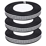 Zer one1 Satinband, Karo Satinband, DIY Bowknot Handicraft 3 Rolle 25 Yards/Rolle Polyesterband für...
