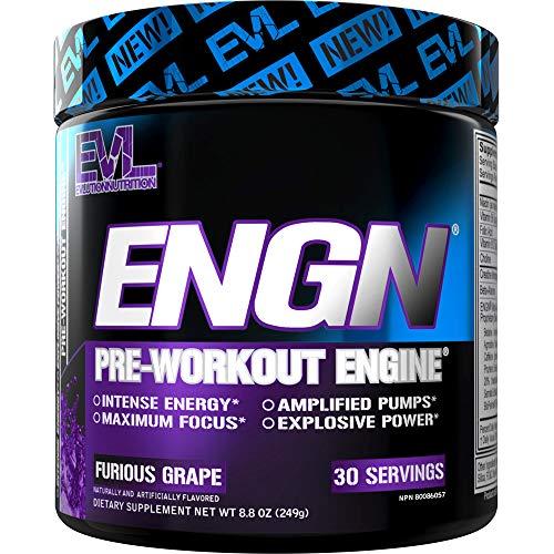 Evlution Nutrition ENGN Pre-Workout, pikatropinfrei, 30 Portionen, intensives Pre-Workout Pulver für mehr Energie, Power und Fokus (Furious Grape)