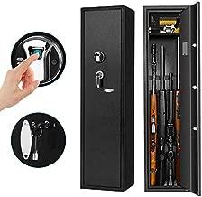 Biometric Rifle Gun Safe, Pataku Gun Safes for Rifles and Shotguns, Fingerprint Long Gun Safe for Home, Quick Access 4-Gun Security Cabinet for Rifles, with Removable Layer for Pistols/Ammo, Black