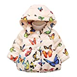 CYNDIE Baby Girl Butterfly Pattern Thick Cotton-Padded Hooded Coat Outwear Warm Clothes
