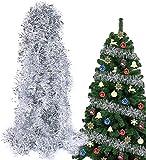 YoMont 6 Pezzi Ghirlanda Natalizia Festone Orpello Argento per Albero di Natale Decorazion...