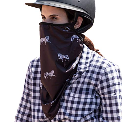 UPF 50+ V Neck Gaiter for Women and Girls, Best Neck and Chest Sun Protection, Ear Loops and Nose Clip, Black