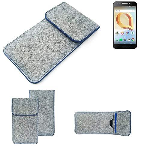 K-S-Trade Filz Schutz Hülle Für Alcatel A30 Plus Schutzhülle Filztasche Pouch Tasche Hülle Sleeve Handyhülle Filzhülle Hellgrau, Blauer Rand