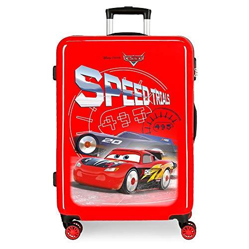 Disney Cars Speed Trails Mittlerer Koffer Rot 48x68x26 cms Hartschalen ABS Kombinationsschloss 70L 3,7Kgs 4 Doppelräder