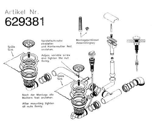 Ab- und Überlaufgarnitur für die Schock VENUS D-200 und VENUS N-200 Einbauspüle / inkl. Bowdenzug / Ersatzteil Spüle / Ablaufgarnitur